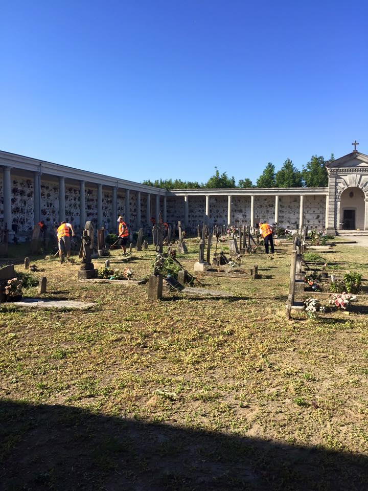 sistemazione terra e verde cimitero Euganeo